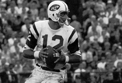 Joe Namath (QB) Jets - First Year: 1965 - 9 seasons - Drafted: Round 1, Pick 1