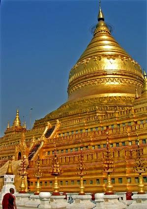Bagan, Myanmar, is awash in temples and monuments, none more impressive than Shwezigon, a golden mountain of a Buddhist temple at the northern boundary of the old imperial capital. Its gold leaf covering is reapplied by hand in postage stamp-sized bits every four years. (Myanmar was formerly known as Burma.)