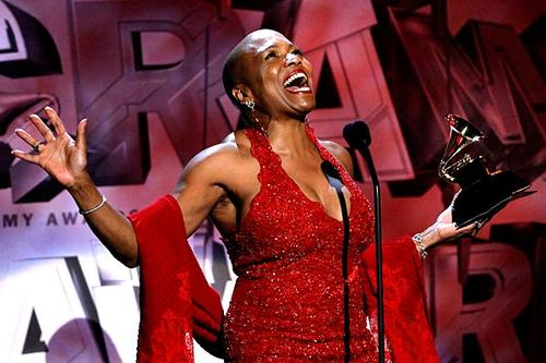 Dee Dee Bridgewater accepts the Grammy for jazz vocal album at the pre-telecast ceremony for the 53rd Grammy Awards.