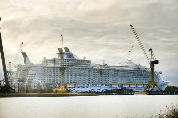 The world's biggest and most expensive cruise ship, Oasis of the Seas, is docked at the STX Finnish shipyard in Turku on Oct. 28, 2009. The ship was handed over to the Royal Caribbean cruiseline. The $1.3 billion cruise ship, which