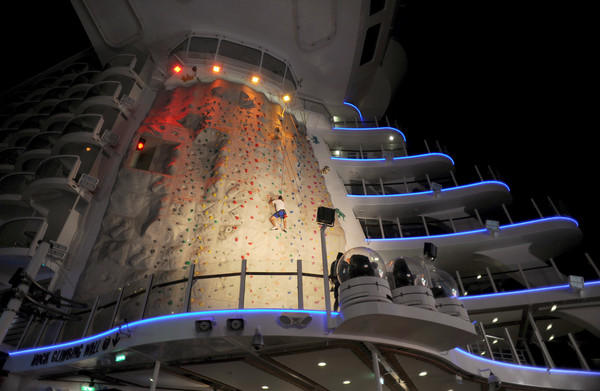 "lluminated by night is one of two Rock Climbing Walls part of the Pool & Sports Zone neighborhood on <a class=""taxInlineTagLink"" id=""ORCRP017329"" title=""Royal Caribbean International"" href=""/topic/economy-business-finance/tourism-leisure-industry/waterway-maritime-transportation-industry/royal-caribbean-international-ORCRP017329.topic"">Royal Caribbean's</a> Oasis of the Seas."