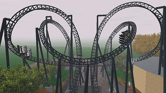 An animated simulation based on plans submitted by Alton Towers for the SW7 roller coaster.