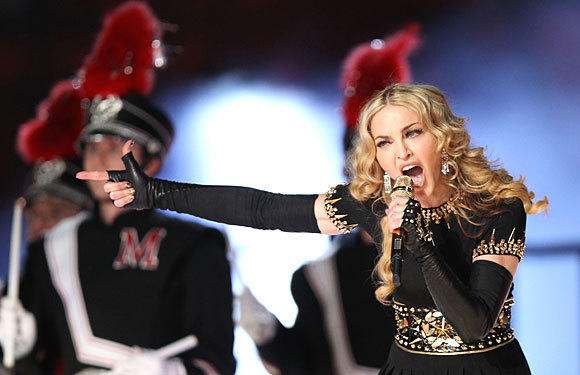 Madonna performs during the halftime show at the Super Bowl on Sunday, Feb. 5, 2012 in Indianapolis.