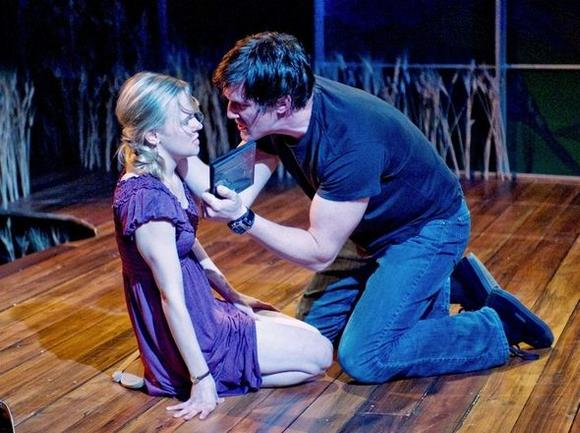 "Kelly O'Sullivan (Claudia) and Nathan Hosner (Ian) in ""Hesperia."""