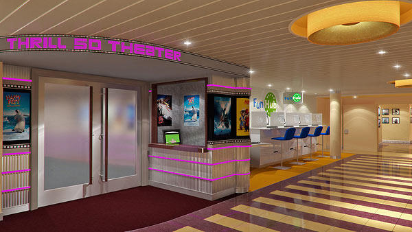 The Thrill 5D Theater will debut on the Carnival Breeze. It will show short-form versions of popular family films on high-def 3D projections while viewers will be in seats the move and enjoy other tactile enhancements to create what Carnival calls a five-dimension experience.