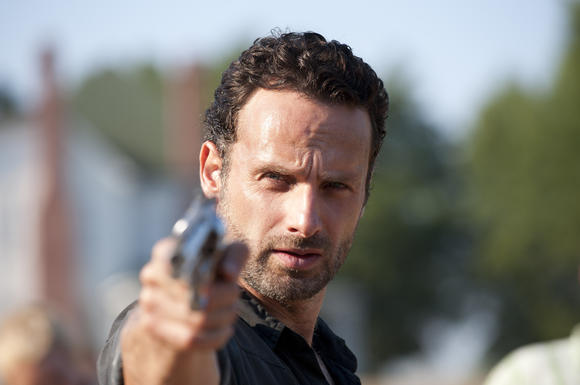 Rick Grimes (Andrew Lincoln) has a gun, and he isn't afraid to use it
