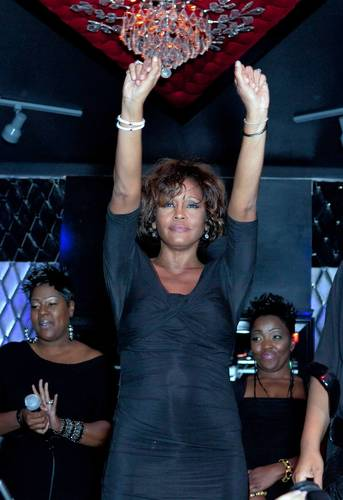 Whitney Houston and Kelly Price share the stage at the Kelly Price & Friends Unplugged: For The Love Of R&B GRAMMY Party at Tru Hollywood.