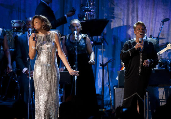 "Whitney Houston and Dionne Warwick sing ""That's What Friends Are For"" at the 2011 Clive Davis pre-Grammy gala at the Beverly Hi"