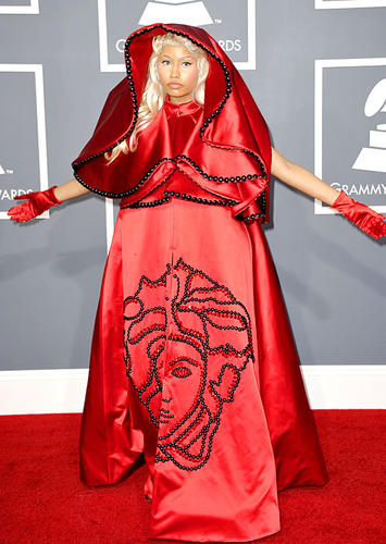 Nicki Minaj in a ruby Atelier Versace ensemble that evoked a nun's get-up.