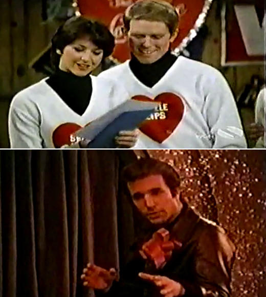 22 classic Valentine's Day episodes and specials: Weirdest Happy Days ever? Possibly. Its definitely right up there with the genesis of jumping the shark. For V-Day in Milwaukee, the Happy Days cast members get to show off their singing chops for a musical episode. All the musical numbers happen via daydream sequences. Definitely bizarro.