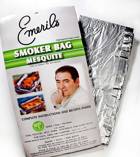 We fell in love with these spacious, idiot-proof smoking bags before we even tasted the maple- and mesquite-laced pork chops that we created. The bag smelled like a campfire even before it hit the grill, but after cooking, that smoky flavor did not overwhelm the meat, and the chops got nice and brown. The heavy-duty foil creates a tight seal so the bag puffs up while cooking. Take a couple on your next camping trip for easy after-meal cleanup.<br><br> <b>amazon.com; Pack of three, $12.09</b>