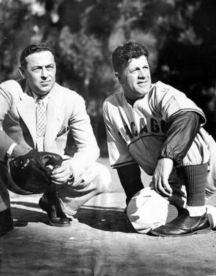 Cubs owner Phillip K. Wrigley and manager Charlie Grimm watch a spring training workout on Feb. 26, 1938, on Santa Catalina Island, Calif.