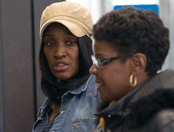 Barbara Norman, left, mother of Trenton Booker, during a break in a sentencing hearing for Officer Richard Bolling.