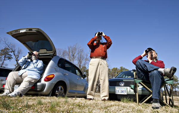 From left, Fred Blystone, Tom Armour and Brian Taber, all of Williamsburg and volunteers of Coastal Virginia Wildlife Observatory, look for a hawk at Colonial Parkway in James City County on Thursday.