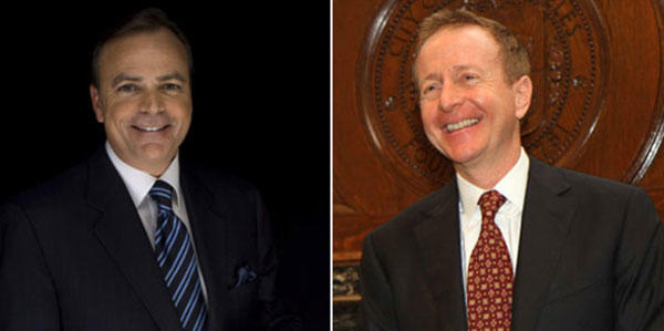 The Republicans who would be mayor: Developer Rick Caruso and investment banker Austin Beutner. (Jay L. Clendenin  / Los Angeles Times, Tyrone Washington / L.A.'s Mayor's Office)