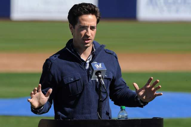 Ryan Braun talks to the media prior to spring workouts on Friday.
