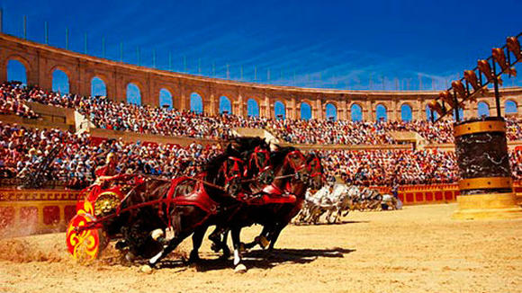 The chariot race during the Triumph's Sign show at Puy du Fou historical theme park in France.
