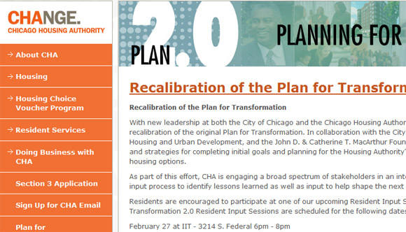 Chicago Housing Authority website asking for input on a new phase of the agency's Plan For Transformation.
