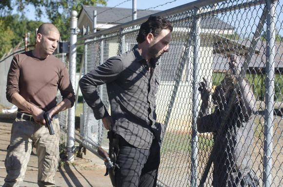 Shane (Jon Bernthal) and Rick Grimes (Andrew Lincoln) get ready to throw down.