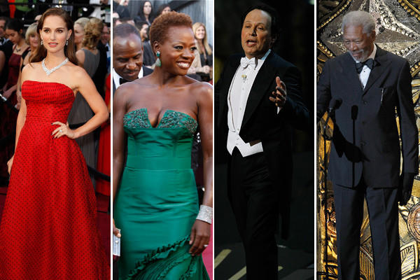 Natalie Portman, left, Oscar nominee Viola Davis, host Billy Crystal and Morgan Freeman, who opened the Academy Awards show.