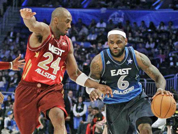 Kobe Bryant guards LeBron James at the All-Star game.
