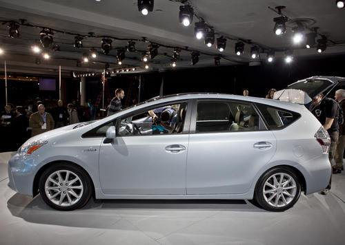 The Prius v is essentially a station-wagon version of the Prius sedan. It's bigger and heavier, and consequently mileage suffers, with an EPA-rated 44 mpg on the city, 40 on the highway. (Most hybrids get better mileage in the city than on the highway, because the lower-speed city driving allows for more use of electric-only mode.)