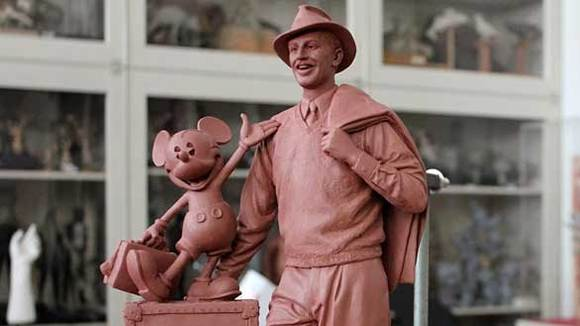 A maquette of the Walt and Mickey statue planned for Buena Vista Street at Disney California Adventure.