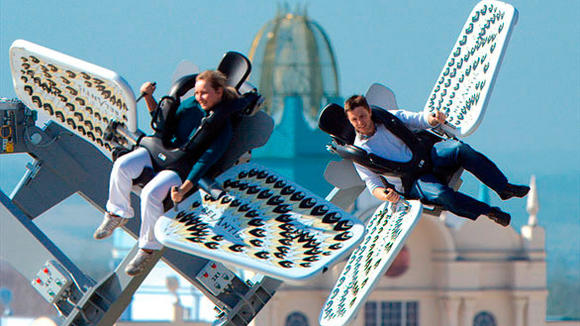 Nickelodeon Universe will add a Gerstlauer Sky Fly ride similar to this one, the Gotterflug Sky Roller at Belantis Leipzig in Germany.