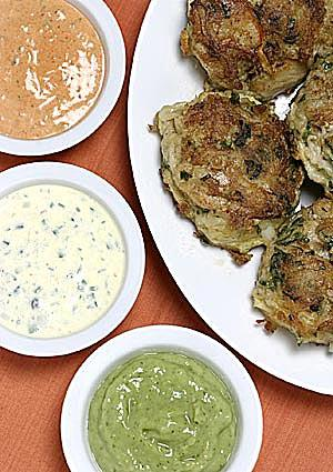 Crabcakes with a trio of dipping sauces