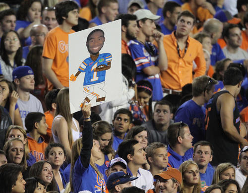 Florida fans hold up a poster of running back Chris Rainey (1) during their game against Alabama at Ben Hill Griffin Stadium in Gainesville, Fla. Saturday, October 1, 2011