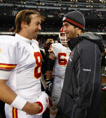 Kyle Orton with Jay Cutler after the Bears' 10-3 loss.
