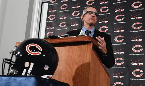 New general manager Phil Emery fields questions Monday at Halas Hall.