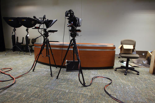 New television studio in the rebuilt campus of Evans High School, on Wednesday, December 21, 2011.