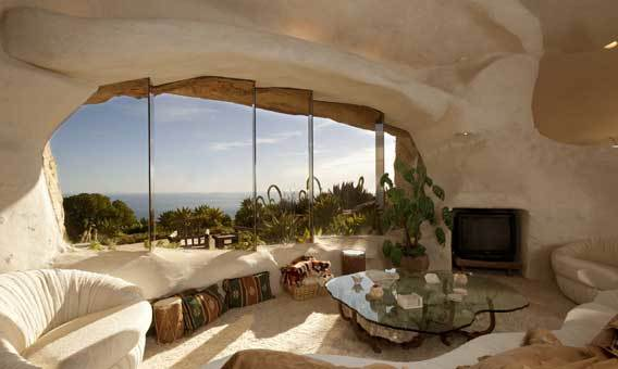 Rounded and irregular shapes give TV personality Dick Clark's house in Malibu a whimsical appearance.
