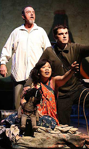 "<b>TALL TALES?:</b> Louis de Rougemont  (Gregory Itzin, left) mixes with aborigines (Melody Butiu and Michael Daniel Cassady) in Donald Margulies' ""Shipwrecked!"""
