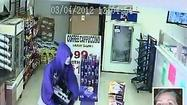 Image from surveillance video shows suspect in robbery at Lucky Food Mart where store clerk Judi Simpson-Beaver (inset) was killed.