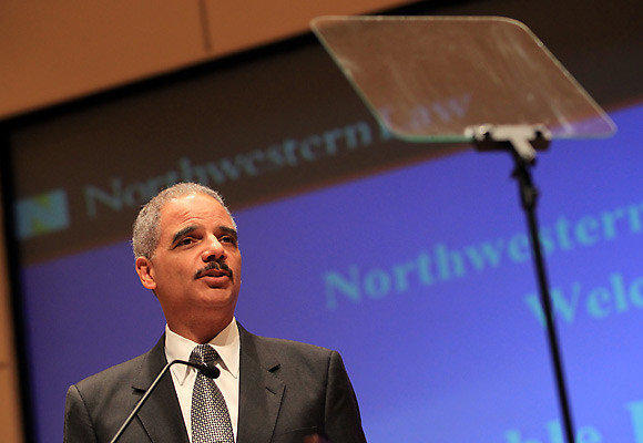U.S. Attorney General Eric H. Holder, Jr. delivers a national security speech regarding the Obama administrations counterterrorism efforts today at the Northwestern University School of Law.