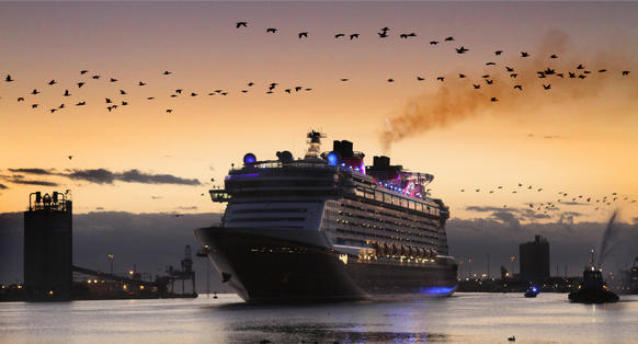 The Disney cruise ship Fantasy arrives at Port Canaveral, Tuesday, March 6, 2012.