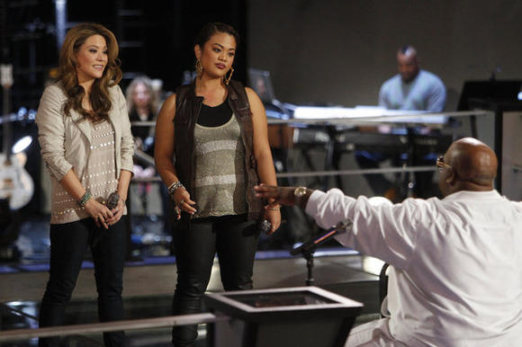 L-R: Angie Johnson, Cheesa Laureta and Cee Lo Green on last night's 'The Voice.'