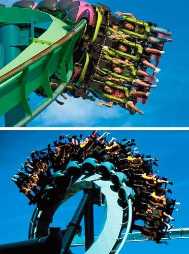 Both Bolliger & Mabillard inverted coasters were built in 1994 at the height of the coaster wars. Raptor, top, is taller, longer and faster. Winner: Raptor. Score: Cedar Point leads, 1-0.
