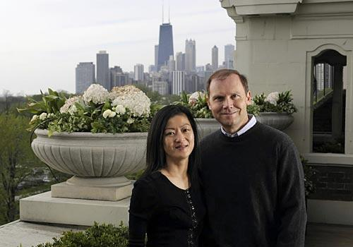 Joe and Rika Mansueto at their home in Chicago in 2008. (Handout photo)
