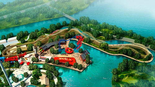 An artist rendering of the waterfront River City area of Happy Valley Wuhan theme park where the Dragon Wings wooden coaster will be located.