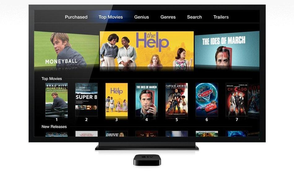 An illustration of the Apple TV set-top box and iTunes movie rentals on an HD TV. Apple updated its Apple TV device alongside the unveiling of a new, third-generation iPad.