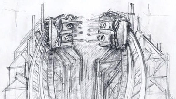 Pencil sketch of the High Five element on the Dragon Wings wooden coaster at China's Happy Valley Wuhan theme park.