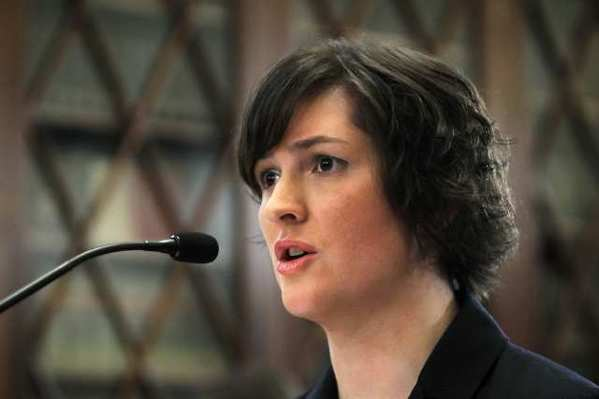 Sandra Fluke, a third-year law student at Georgetown University, testifies during a hearing before the House Democratic Steering and Policy Committee on Capitol Hill.