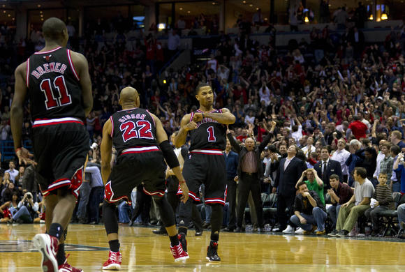 Derrick Rose after hitting his game-winner Wednesday night. (Jeff Hanisch/US Presswire photo)