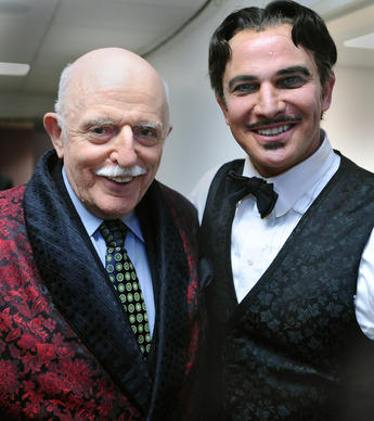 JHU professor John Astin, who played Gomez Addams in the '60s TV sitcom, meets Douglas Sills, who plays Gomez in the touring musical.