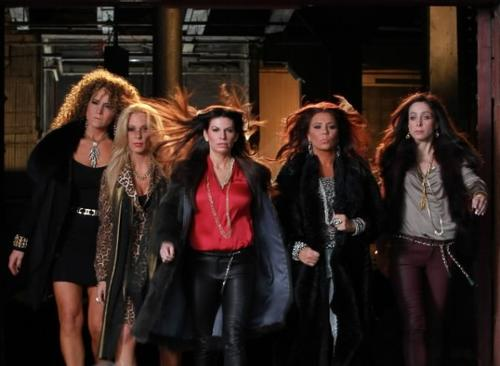 """(Left to right) """"Mob Wives Chicago"""" stars Leah DeSimone, Renee Fecarotta Russo, Pia Rizza, Christina Scoleri and Nora Schweihs film the show's intro at Cassidy Tire on Canal Street March 7, 2012"""