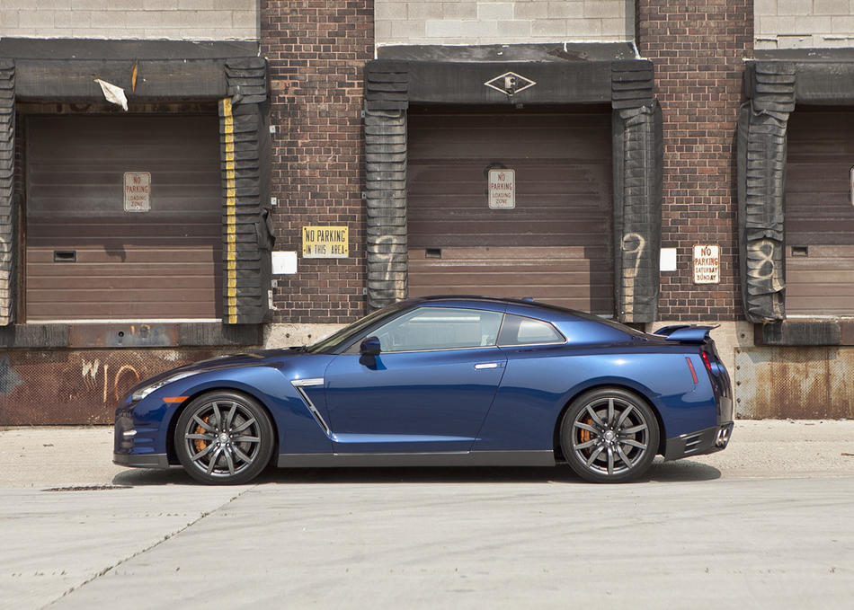 "A  hand-assembled 530-horsepower, twin-turbo 3.8-liter V-6 engine  propels the ""Godzilla"" sports car to a top speed of 196 mph, without a six-figure price tag. <a href=""http://www.cars.com/nissan/gt-r/2012/"" target=""_new"">2012 Nissan GT-R prices, photos & reviews</a>"