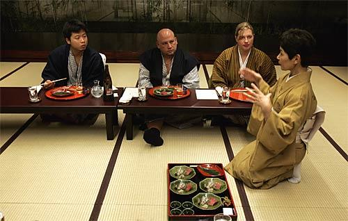 """It's called kaiseki, and it's the haute cuisine of Japan - served in a hushed tatami room, each course (there are 14) with its own visual language. Spago Beverly Hills executive chef Lee Hefter, center, who for years has been traveling to Japan for culinary inspiration, dines at the Kyoto inn Hiiragiya Ryokan with his wife, Sharon, and friend Tetsu Yahagi. """"It stimulates the creative process,"""" Hefter says of his Japanese jaunts. """"I let it digest for a month and then go back to my notes and get inspired again."""" The kaiseki framework, meanwhile, is formal: Those 14 courses always include two artfully composed appetizers, a sashimi course, a simmered dish, a grilled dish, a steamed course, a middle course that always comes in a beautiful lidded dish."""